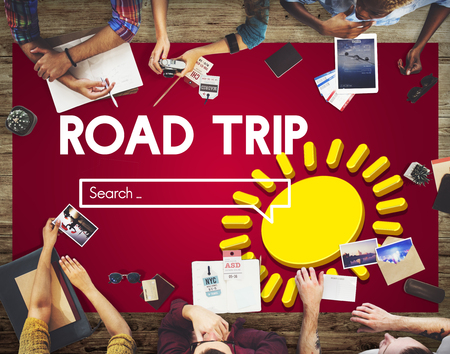 Group discussion with road trip concept