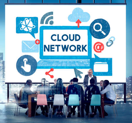 sharing information: Cloud Network Dara Information Storage Sharing Technology Concept Stock Photo