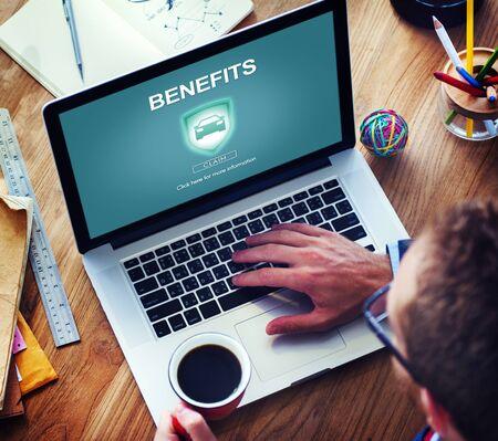 Benefits Assets Profit Value Wages Bonus Claims Concept