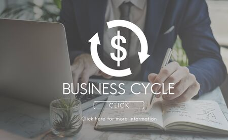 business cycle: Business Cycle Economy Financial Concept Stock Photo