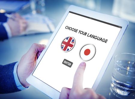 comunicación escrita: Inglés Japonés concepto de la comunicación Lengua