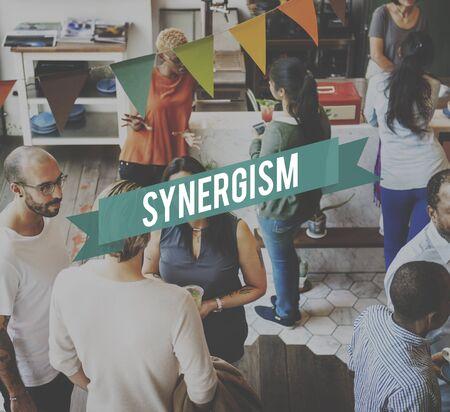 sinergia: Sinergia Corporación Interacción sinergismo Concept