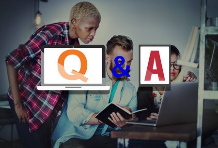 qa: Q&A Questions and Answers Response Solution Concept Stock Photo