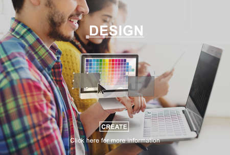 learning new skills: Creative Process Ideas Graphic Design Layout Concept Stock Photo