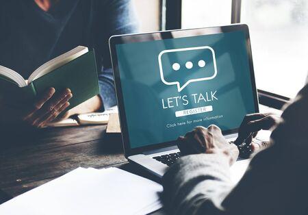 Lassen Sie uns Online-Dialog Meldekonzept Sprechen