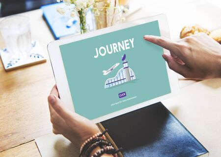 aircraft take off: Journey Business Trip Flights Travel Information Concept Stock Photo