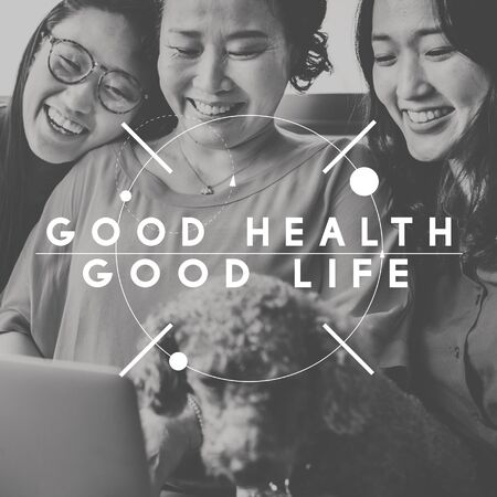 the good life: Good Health Good Life Happiness People Graphic Concept Stock Photo