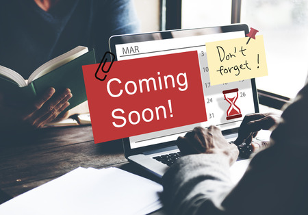 annoucement: Coming Soon Advertising Annoucement Sign Concept Stock Photo