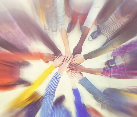 hands clasped: Group of People Hands Clasped Concept