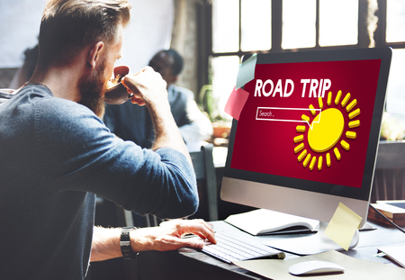 Man at work with road trip internet search concept Stock Photo