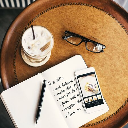 cafe latte: Coffee Shop Cafe Latte Cappuccino Newspaper Concept Stock Photo