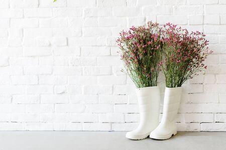 Boots Garden White Wall Concept Imagens