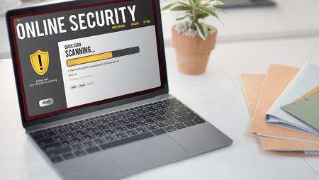 Laptop with online security concept 版權商用圖片
