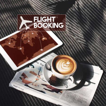 flight booking: Flight Ticket Booking Destination Journey Concept Stock Photo