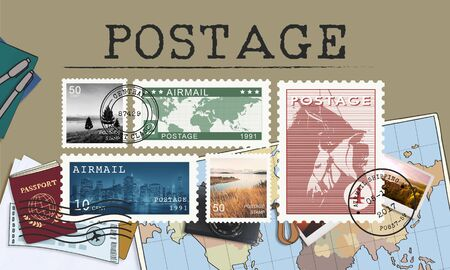 postage: Postage Letter Parcel Stamp Mail Graphic Concept