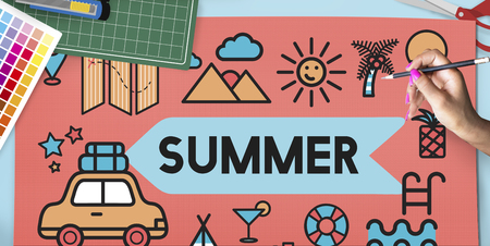 Designer with summer vacation concept