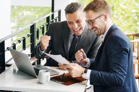 Businessmen Success Gesture Cheerful Concept