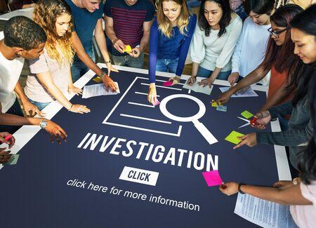 investigacion: Investigation Results Analysis Discovery Concept Foto de archivo
