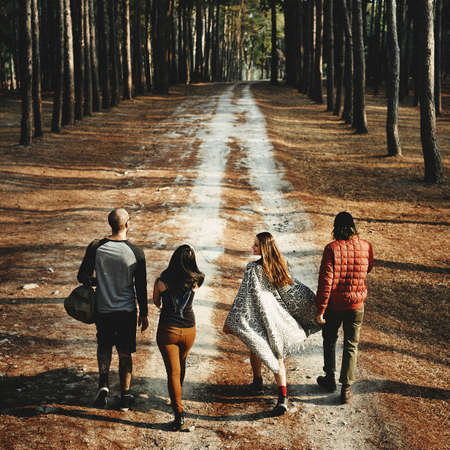 treck: Camping Backpacker Walking Friendship Togetherness Concept Stock Photo
