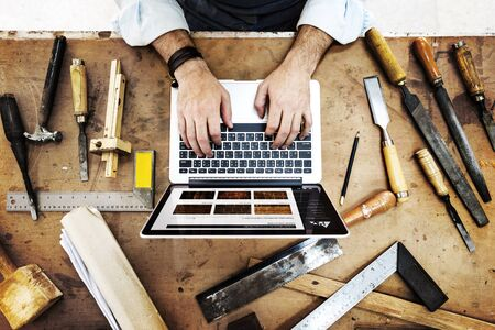 skilled: Craftsman Profession Occupation Pursuit Skilled Concept Stock Photo