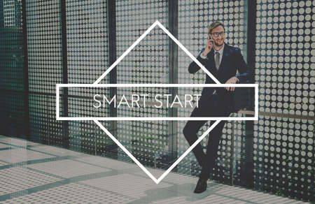 businessman waiting call: Start Small Think Big Smart Ideas Inspire Vision Concept