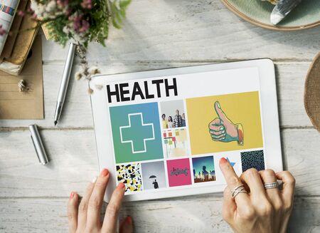 thumbsup: Health Happy Cross Thumbsup Concept
