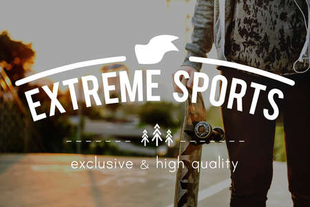 extreme sports: Skateboard Extreme Sports Enjoy Hobby Concept