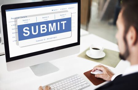 using computer: Submit Application Membership Register Send Concept