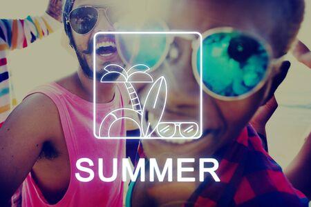 palmtree: Summer Text Sunglasses Surfboard Palmtree Icon Concept