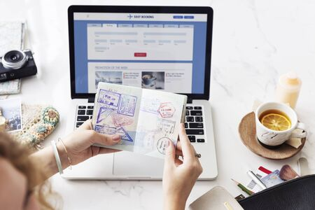 flight booking: Flight Booking Online Passport Stamps Concept