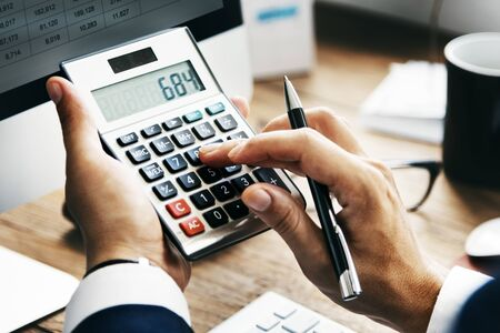 calculate: Calculate Balance Financial Accounting profit Debt Concept
