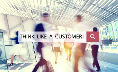 in demand: Think Like a Customer Service Demand Marketing Satisfaction Concept Stock Photo