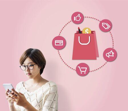 consumerism: Buying Consumerism Discount Merchandising Shopping Concept Stock Photo