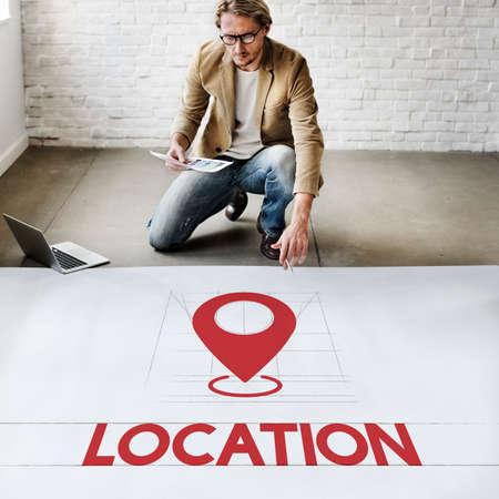 pinning: Location Direction Navigation Destination Exploration Concept Stock Photo