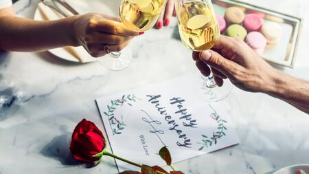 couple dating: Couple Lovers Dating Romantic Anniversary Celebration Concept