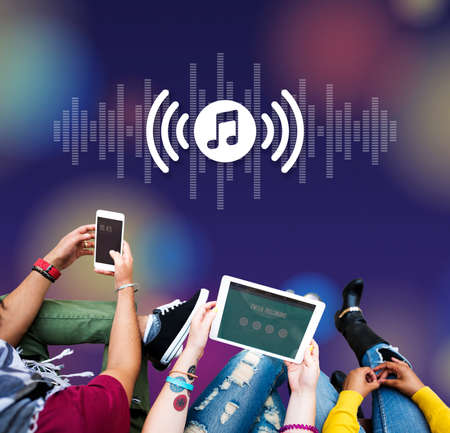 melody: Melody Music Wireless Sound Technology Concept Stock Photo
