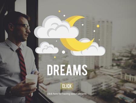 creer: Sueños creen Dreamer Concepto Imaginación Esperanzado Foto de archivo