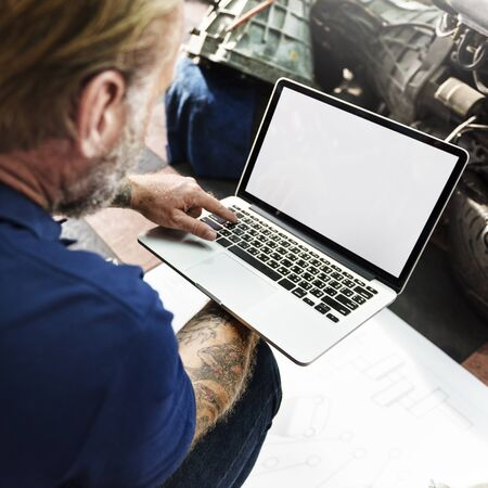 adjustment: Garage Automotive Tuning Adjustment Laptop Concept