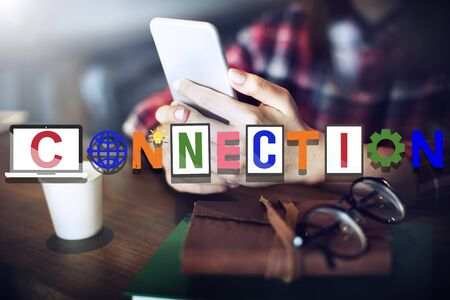 keywords link: Connection Connected Social Network Media Concept Stock Photo