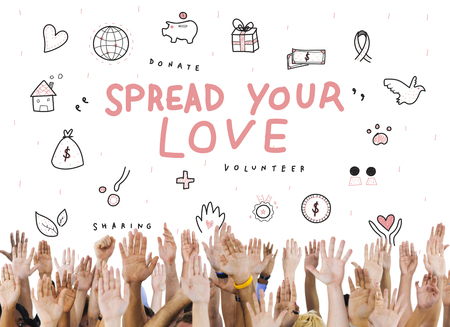 raise your hand: Spread Your Love Donations Charity Support Concept Stock Photo