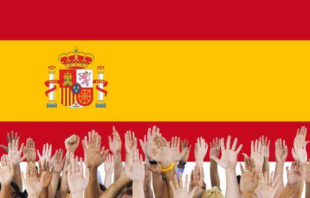 raise the white flag: Spain National Flag People Hand Raised Concept Stock Photo