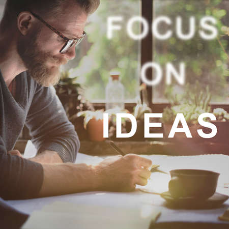 casual business man: Focus On Ideas Text Concept