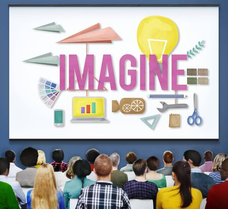 expect: Imagine Creative Dream Expect Ideas Vision Concept Stock Photo