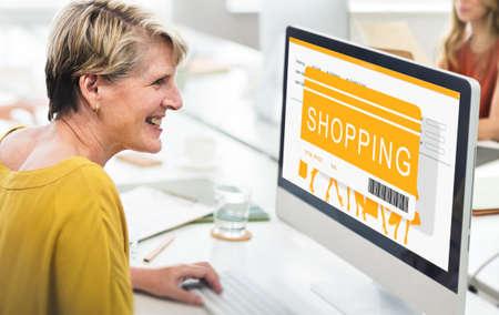 joyfull: Shopping Online Sale Shopper Shopaholics Concept Stock Photo