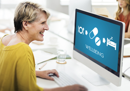 corporate women: Wellbeing Medical Health Proper Care Concept