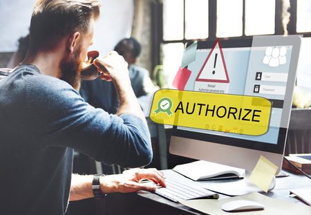 Man at work with account authority concept