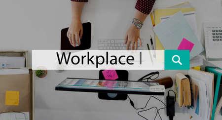 workroom: Workplace Office Room Workroom Workspace Work Concept