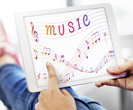 music therapy: Music Note Art of Sound Instrumental Concept Stock Photo