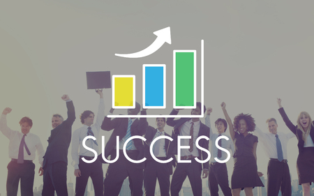 arms outstretched: Success Increasing Bar Chart Concept
