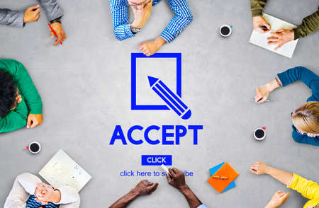 accept: Membership Accept Join us Support Concept Stock Photo